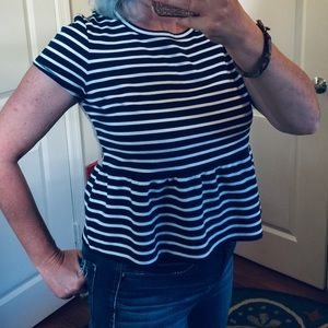 RACHEL Rachel Roy Tops - RACHEL Rachel Roy Striped Peplum Top with Lace